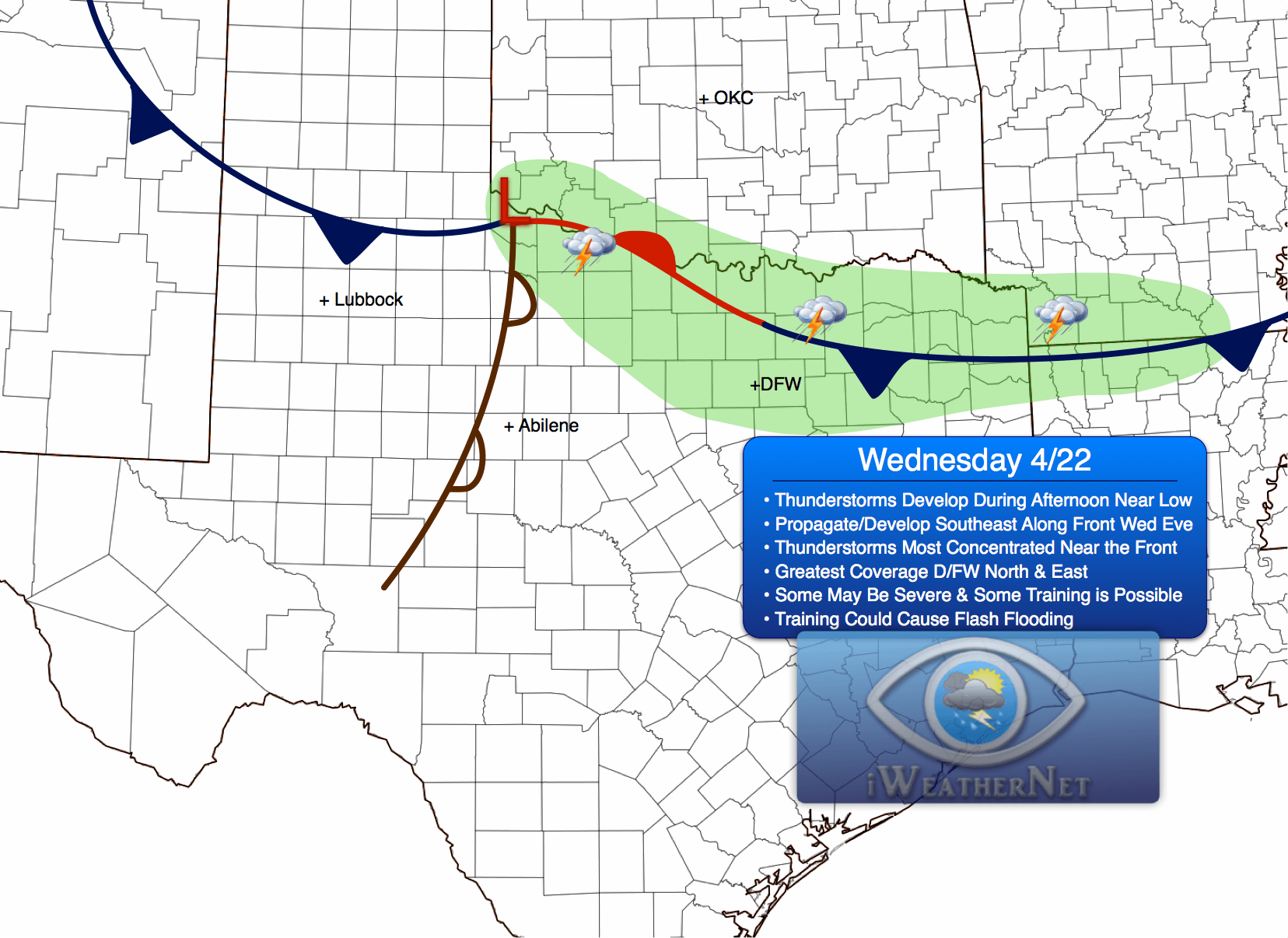 dfw  tstorms late weds  4  22  may be severe w   localized