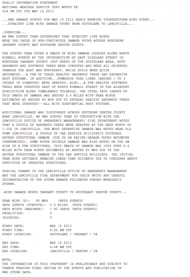 NWS damage report for the wind damage on the morning of Sunday May 10, 2015 in Grapevine and Lewisville.