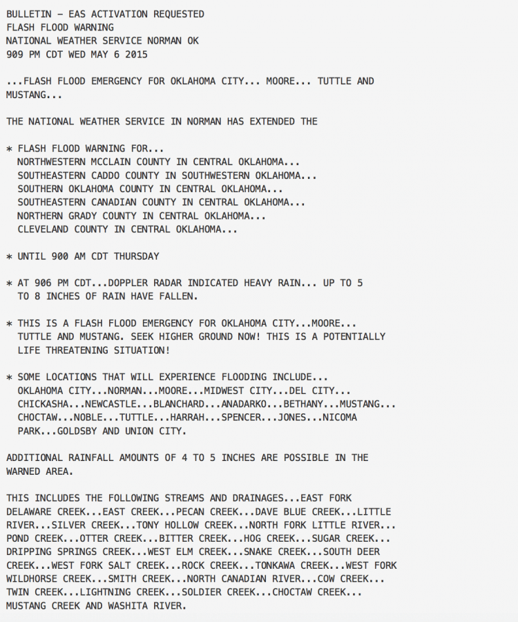 Flash Flood Emergency issued for the south OKC Metro on 5-6-15 - first of its kind issued by the NWS in Norman