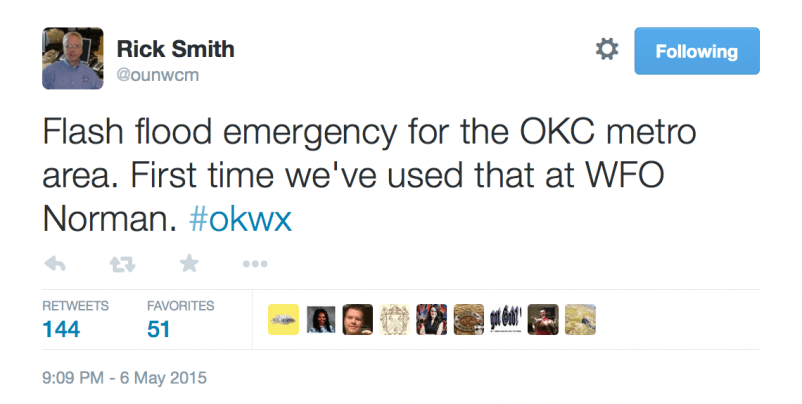 NWS Norman's Warning Coordination Meteorologist, Rick Smith, relayed the emergency on Twitter
