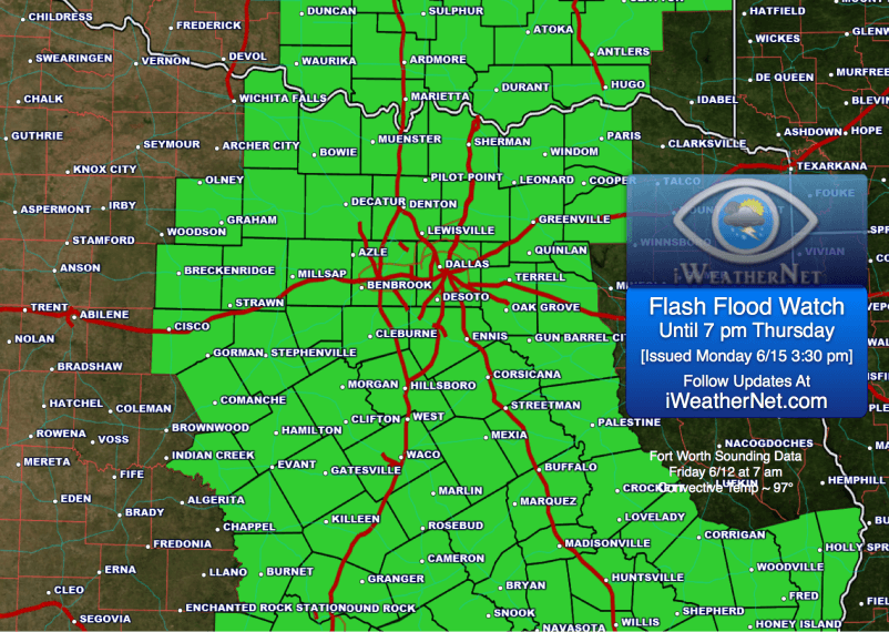 Posted Monday 6/15 3:30 pm: Flash Flood Watch in effect until 7 pm Thursday 6/18.