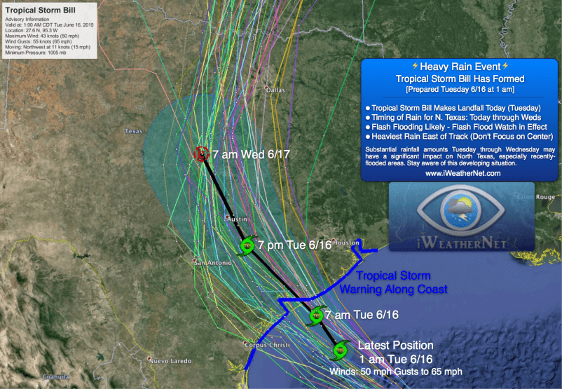 Tropical Storm Bill at 1 am CDT Tuesday 6/16/15. No changes to my forecast.