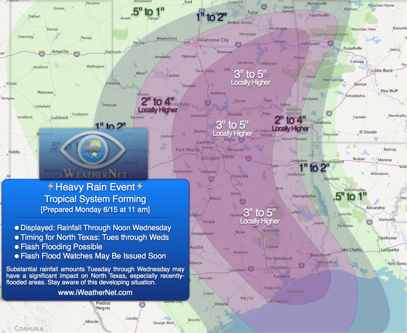 Prepared Monday 6/15 11:20 am CDT: Our predicted rainfall amounts through noon Wednesday (6/17).
