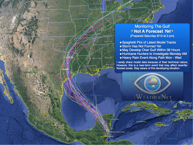 """Spaghetti plot"" of model-simulated tracks of surface low that is likely to form in the Gulf of Mexico by Monday (June 15). This low could become a tropical depression/storm pending the findings of a Hurricane Hunter mission scheduled for Monday morning."