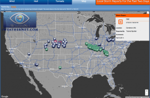 Listing and map of severe weather reports today and yesterday