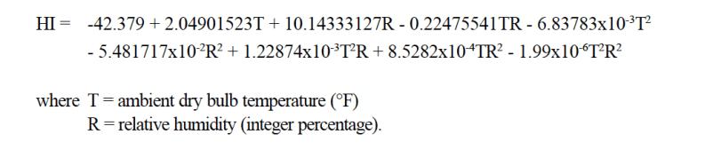the heat index equation
