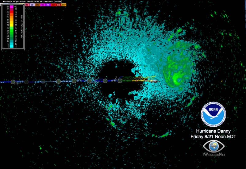 Hurricane Danny P-3 Tail Doppler Radar Scans on Google Earth (Friday 8/21/15)