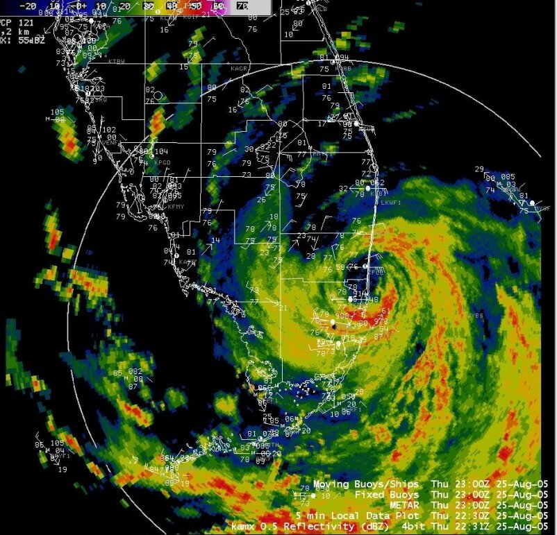 Katrina's first landfall (South Florida) on Thursday, August 25, 2005