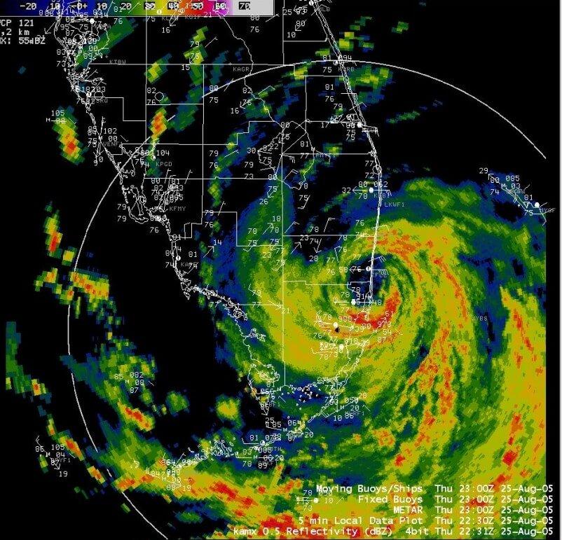 Katrina's first landfall (South Florida) on Thursday, August 25, 2005