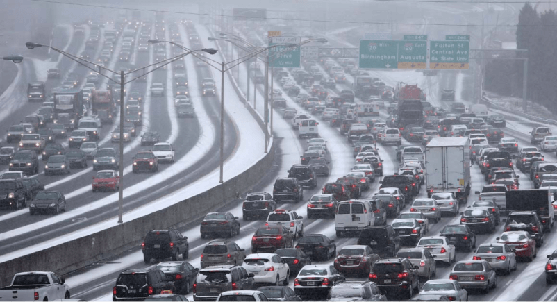 "Atlanta's ""Snow Jam '14"" on January 28, 2014. It was in the lower 60s the day before."