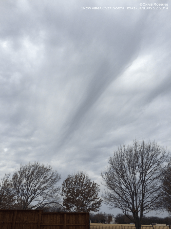 Snow virga over North Texas. Virga is precipitation that evaporates or sublimates before reaching the ground. Rain evaporates, ice sublimates. In this case, snow virga was streaking across the North Texas sky and showed up well on radar also. No snow reached the ground.