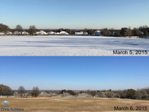 Rapid sublimation and subsequent melting of snow in North Texas. This snow was characterized by relatively low SWE (approximately 7:1)