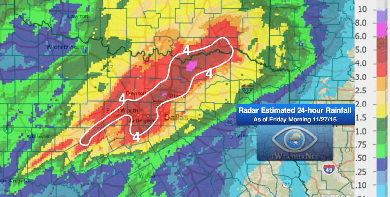 24-hour radar-estimated rainfall 11-27-15
