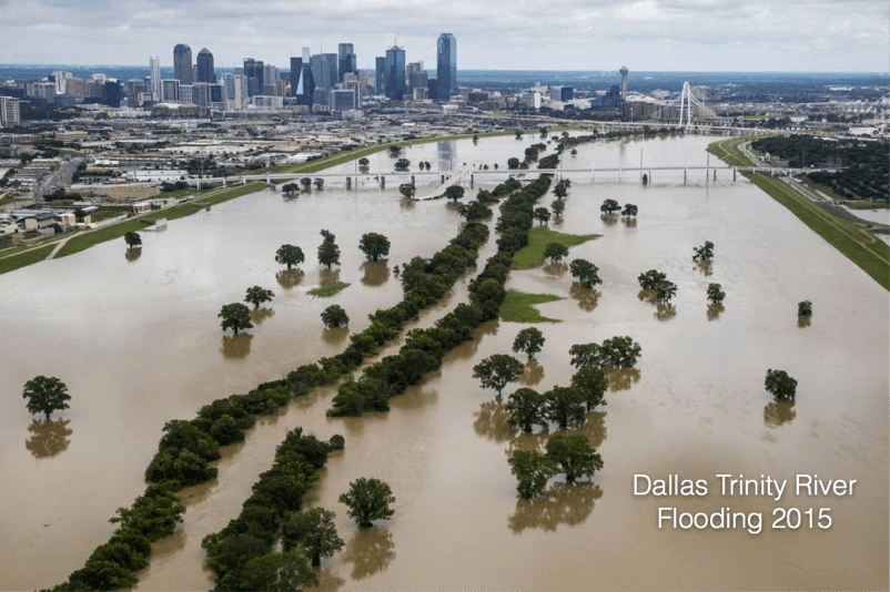 Trinity River flooding 2015, Dallas skyline. Credit: Dallas Morning News