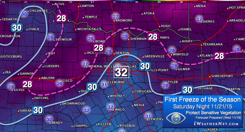 Forecast posted Wednesday 11/18/15: First freeze of the season expected Sunday morning 11/22