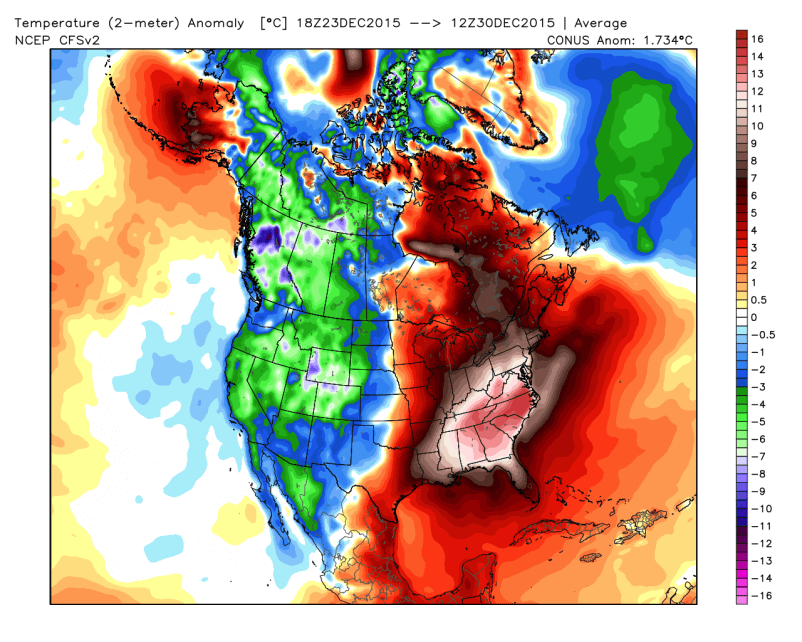 Temperature anomaly for Christmas Week 2015