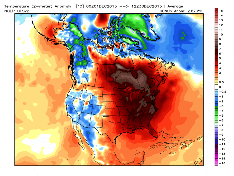 Temperature anomaly for December 2015
