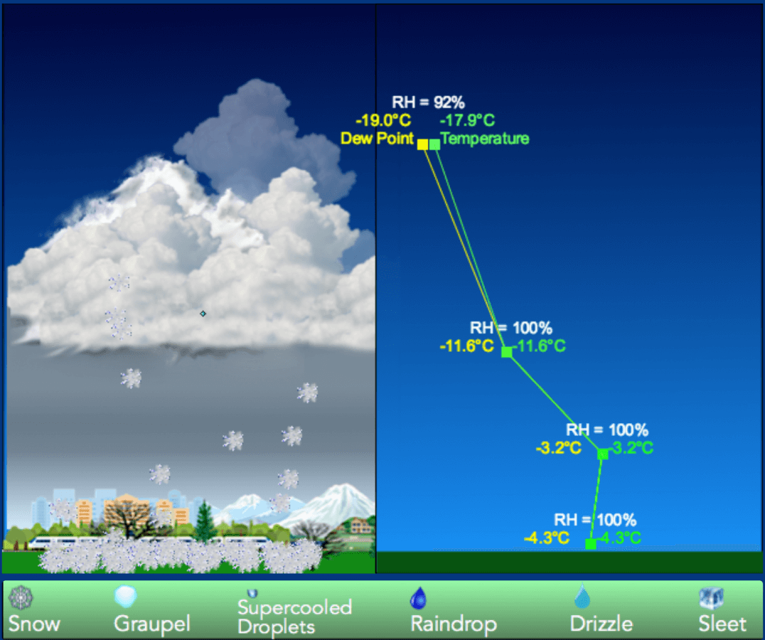 Use the winter precipitation simulator
