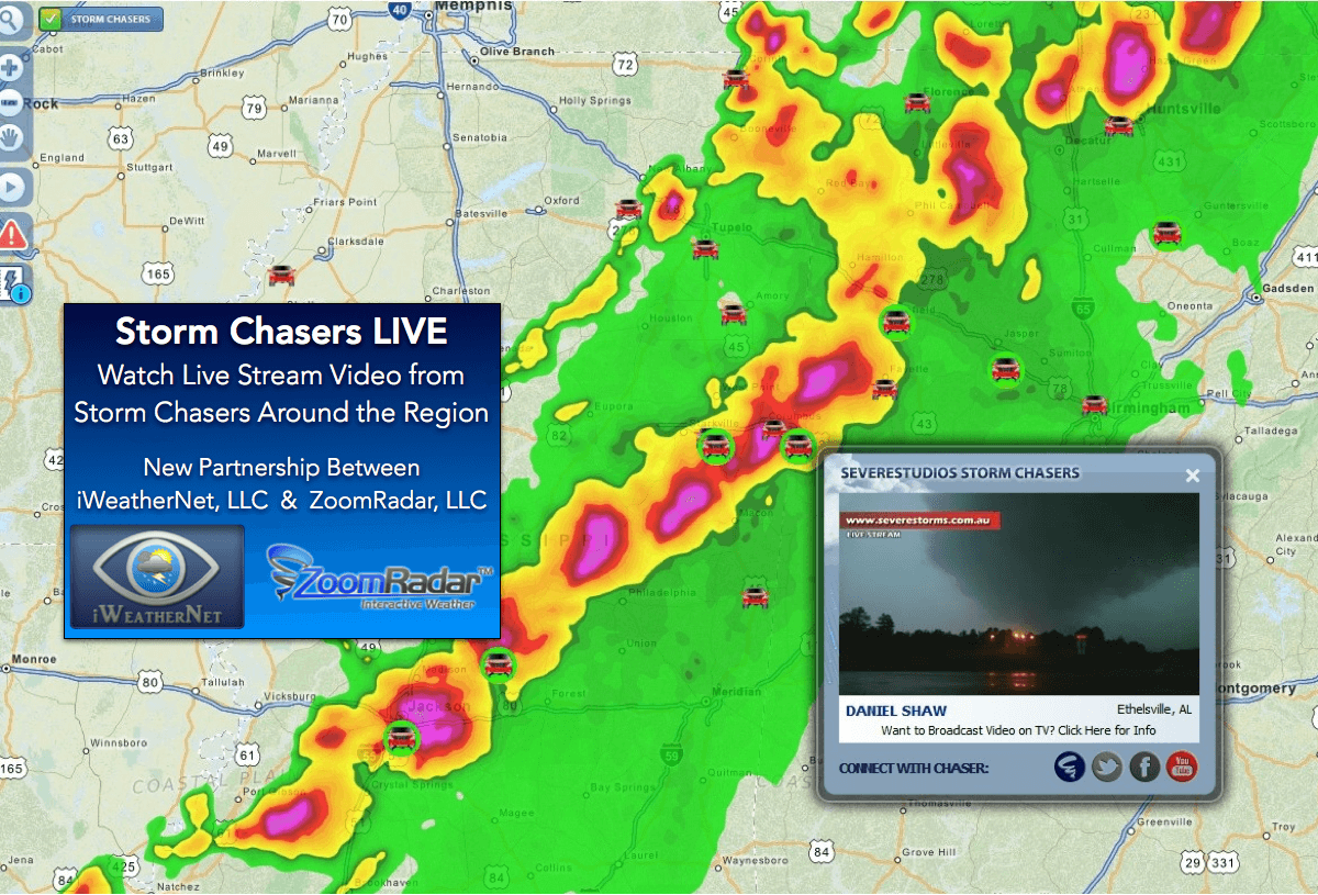 Live stream video from storm chasers