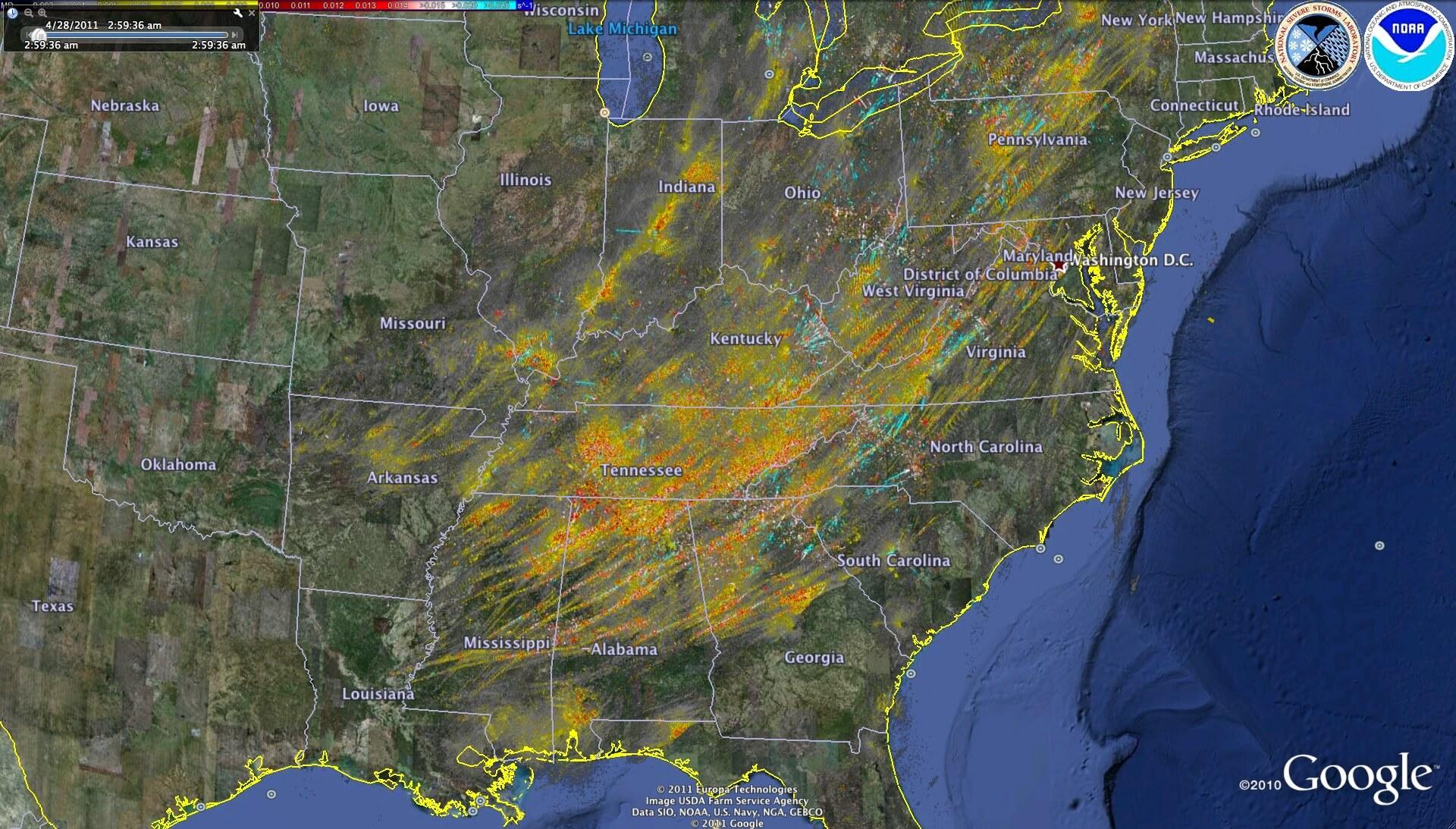 southeast tornado track map