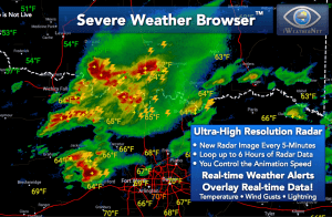 Severe Weather Browser with ultra-high resolution composite radar data and live lightning strikes