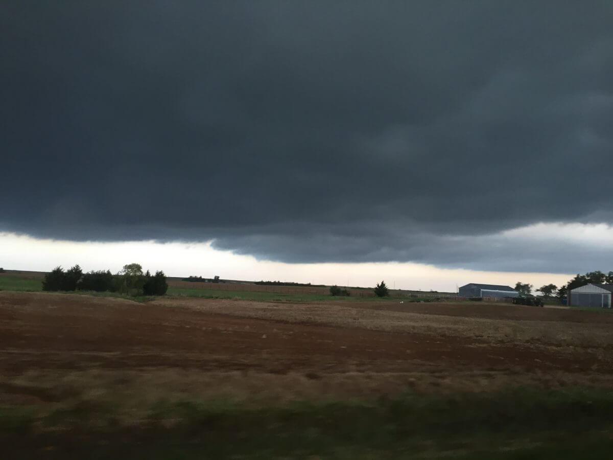The base of a supercell near Burlington, Oklahoma, on Sunday, May 8th.