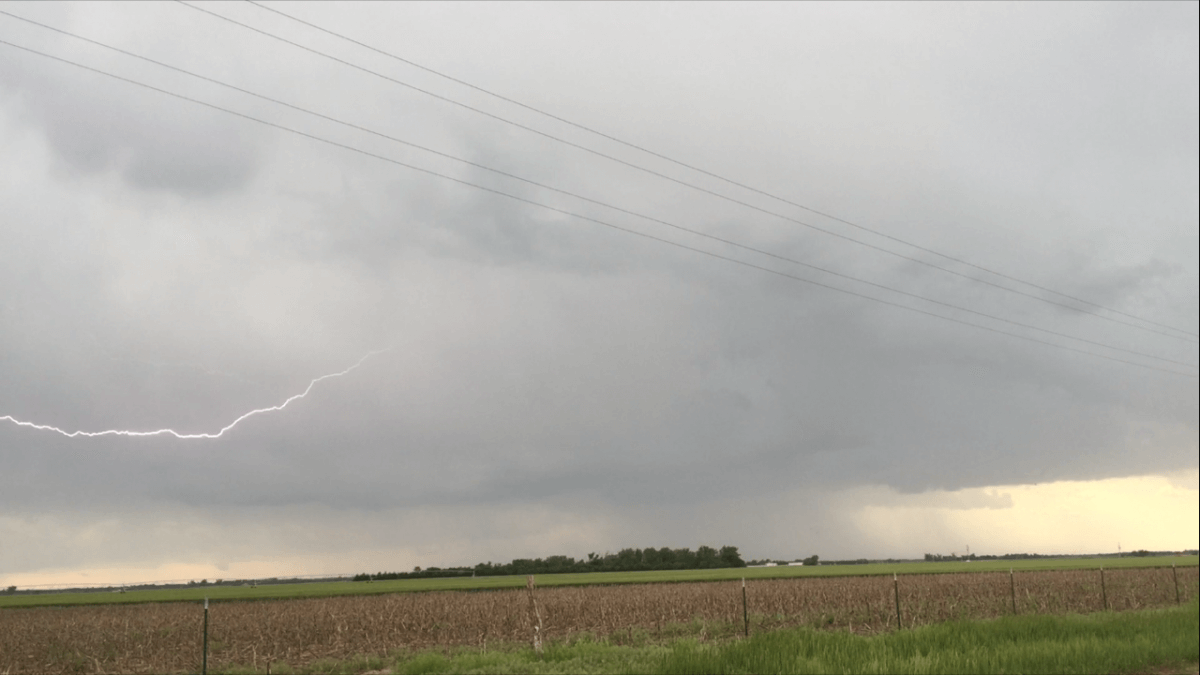 Cloud-to-cloud lightning in supercell northeast of Sterling, Kansas