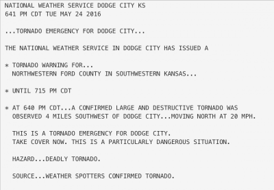 Dodge City tornado emergency