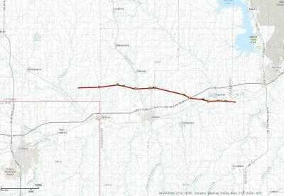 Chapman tornado track