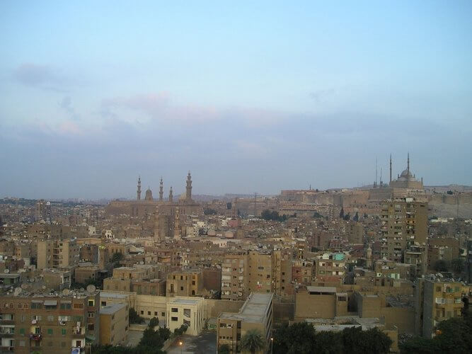 Cairo, Egypt, at dusk.