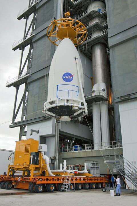 Image of GOES-R being lifted to the top of the Atlas V541 rocket in Cape Canaveral, Florida, on November 19th. Image credit: NASA Kennedy Space Center