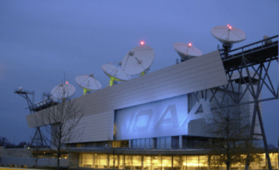 Image of the NOAA operational satellite facility located in Suitland, Maryland. Image credit: NOAA, and is of public domain.