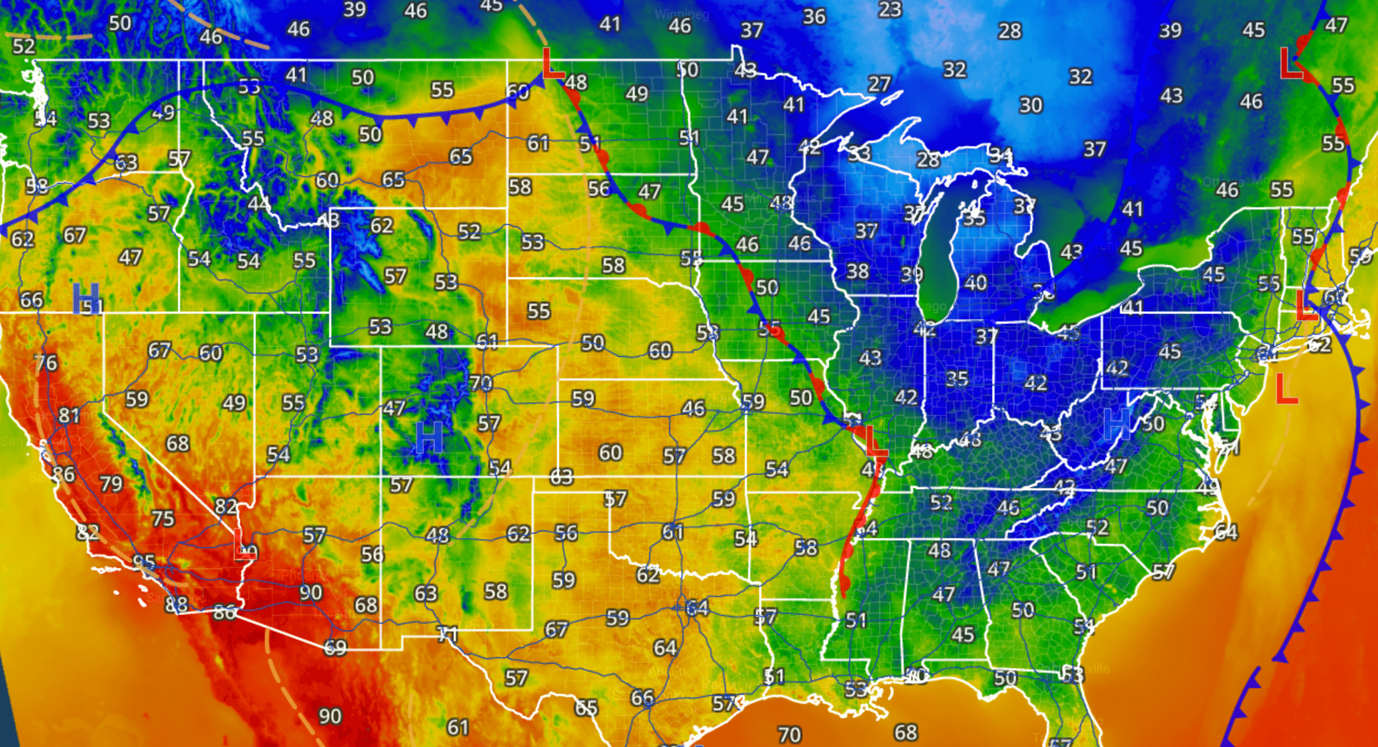 Us Map Current Temperatures Current Temperatures – iWeatherNet