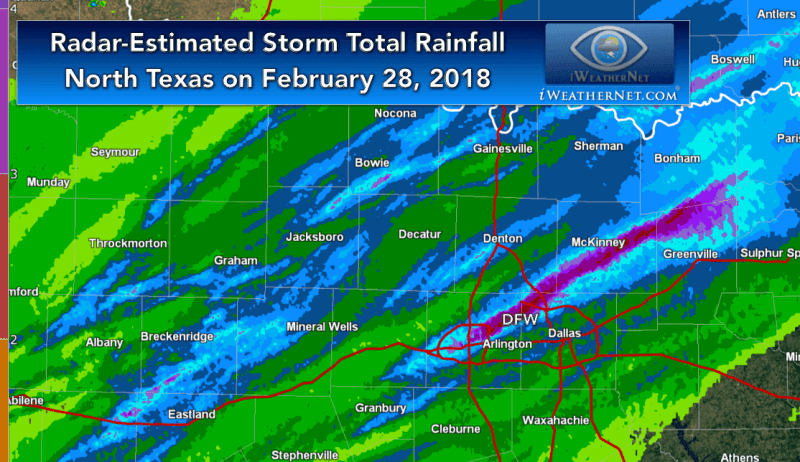 Radar-estimated rainfall totals for Dallas Fort Worth on February 28, 2018 showing swath of 2 to 5 inches of rain