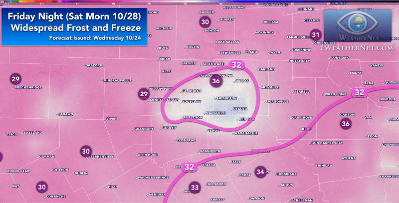 frost and freezing temperatures likely over much of North Texas this upcoming Friday night (10/27/17).