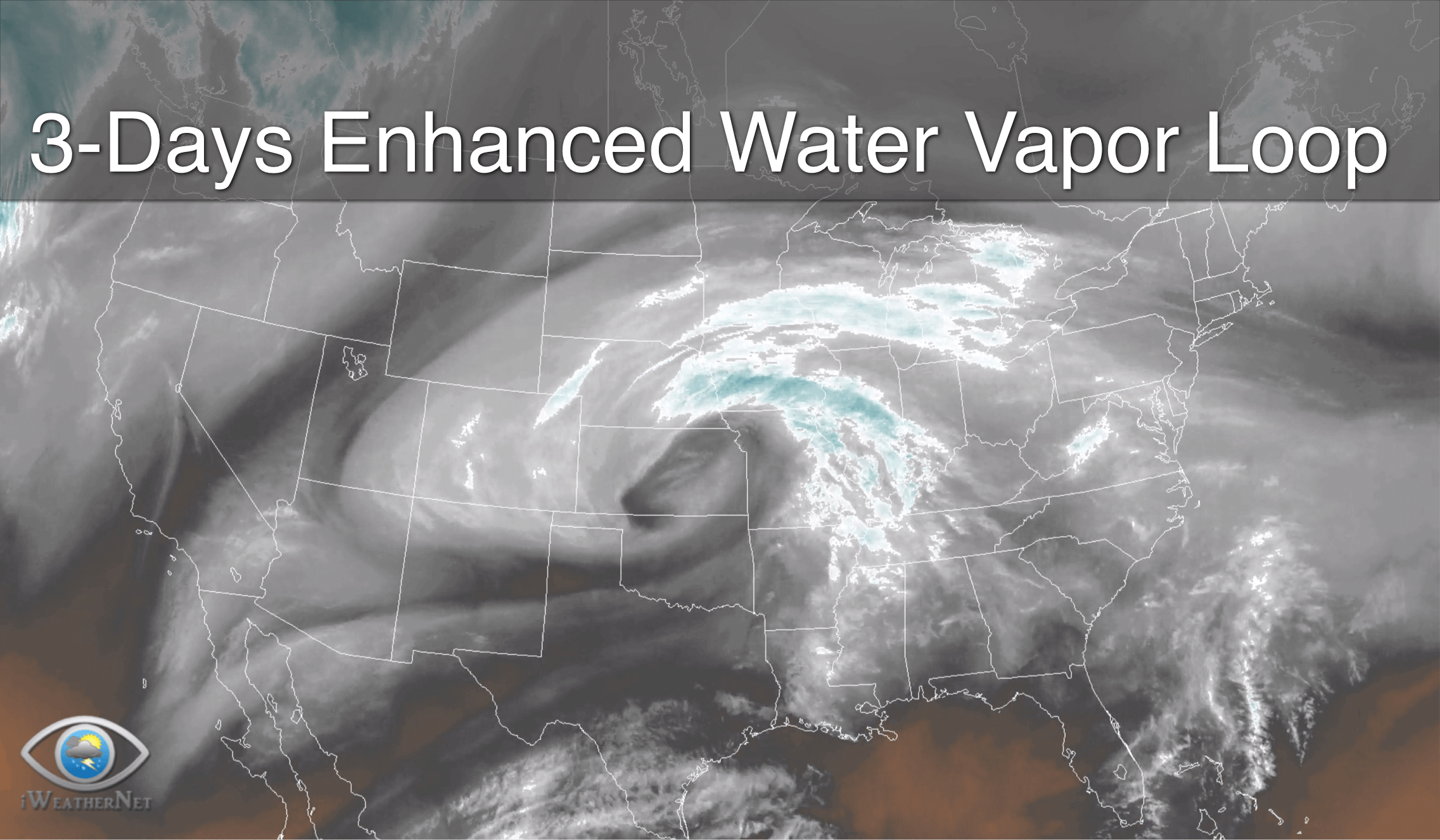 HD Water Vapor Loop with Color Enhancement - Past 3 Days
