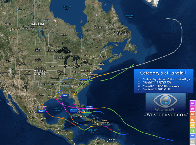Map showing the four hurricanes that made landfall in the United States as a category 5.  White line segments show the portion of the storms' track at category 5.