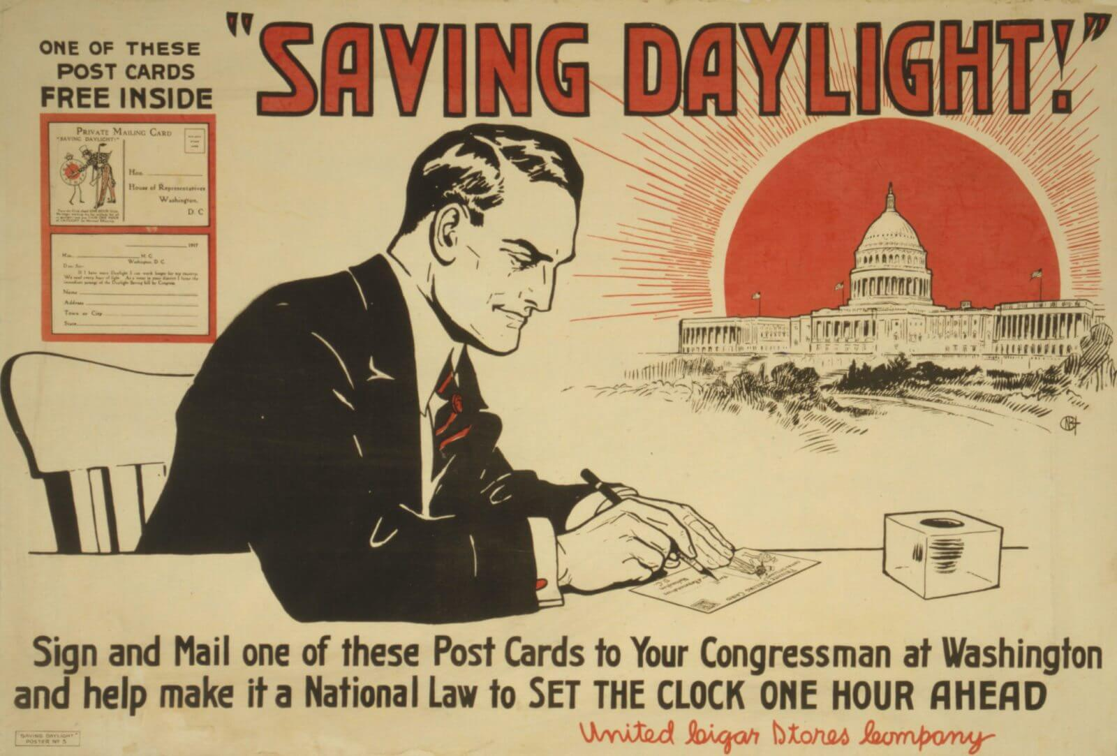 'Daylight Saving' postcard (1918)