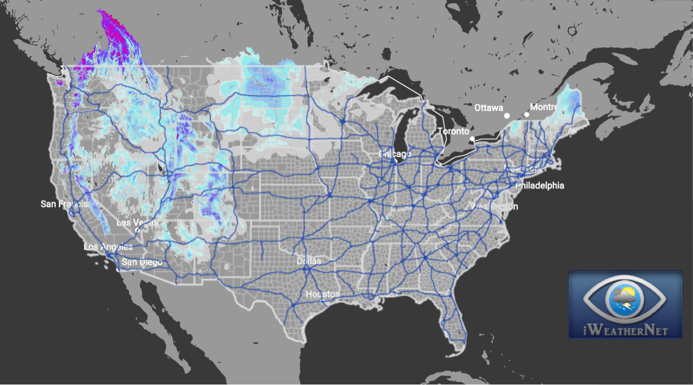 Snow Accumulation Current Snow Depth Percent Coverage Iweathernet - Map-of-us-snowfall