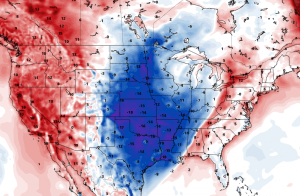 Forecast temperature anomaly for Saturday morning October 28, 2017