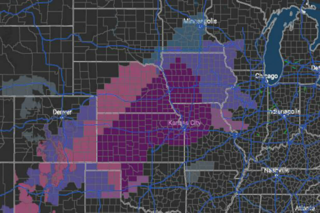 ice storm warning dark purple winter weather advisory pink and winter storm watch blue issued by the national weather service